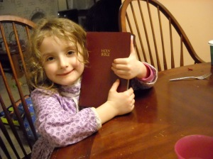 Her very own Bible!